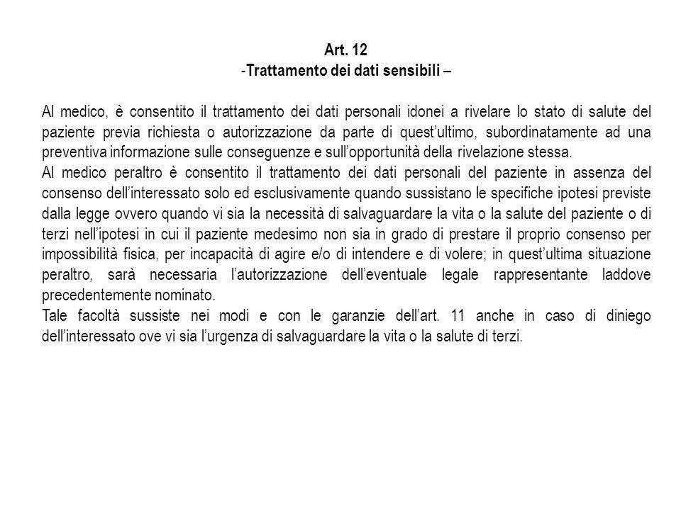 Art. 12 - Trattamento dei dati sensibili – Al medico, è consentito il trattamento dei dati personali idonei a rivelare lo stato di salute del paziente