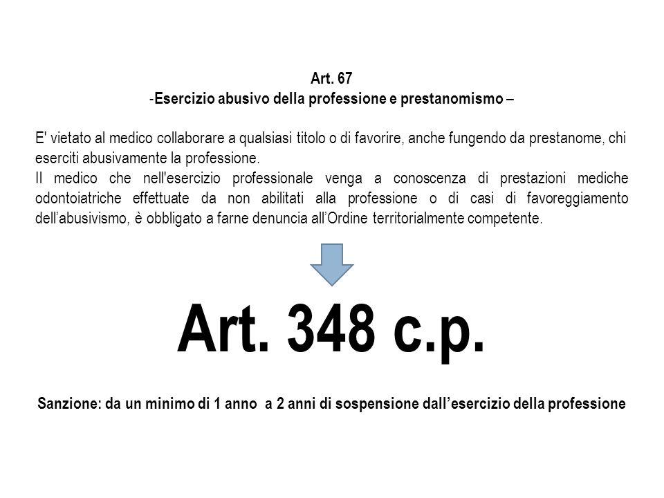 Art. 67 - Esercizio abusivo della professione e prestanomismo – E' vietato al medico collaborare a qualsiasi titolo o di favorire, anche fungendo da p