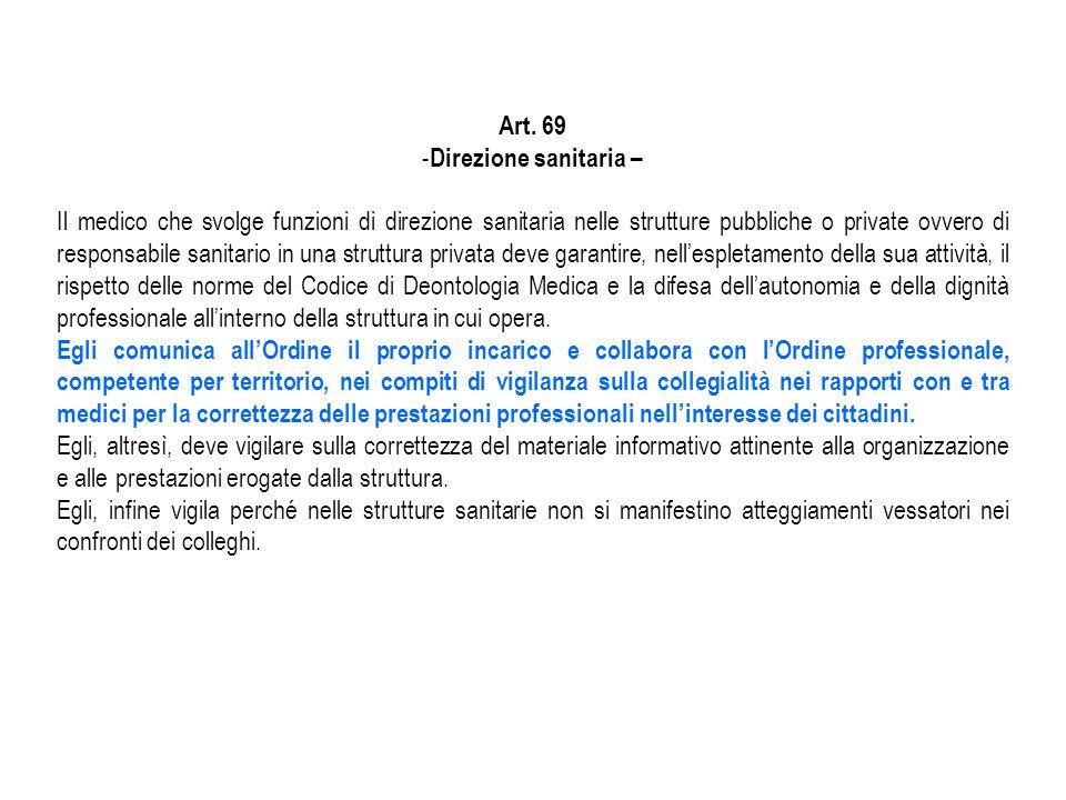 Art. 69 - Direzione sanitaria – Il medico che svolge funzioni di direzione sanitaria nelle strutture pubbliche o private ovvero di responsabile sanita