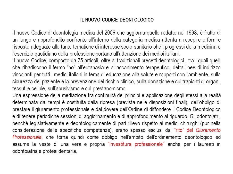 Il Codice Deontologico e costituito da 6 titoli e 75 articoli.