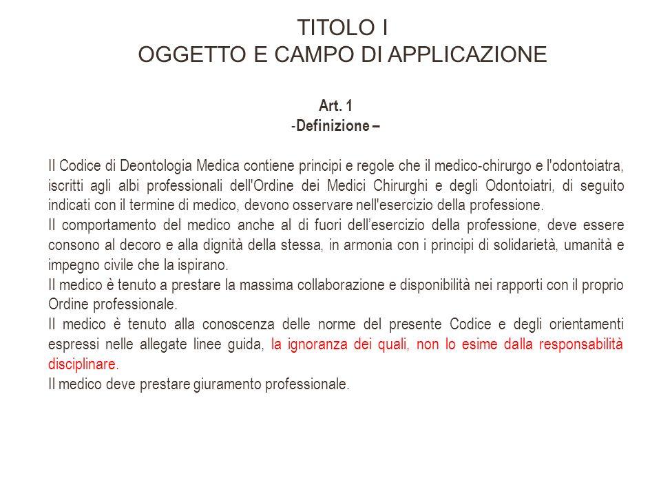 TITOLO IV RAPPORTI CON I COLLEGHI CAPO I Rapporti di collaborazione Art.
