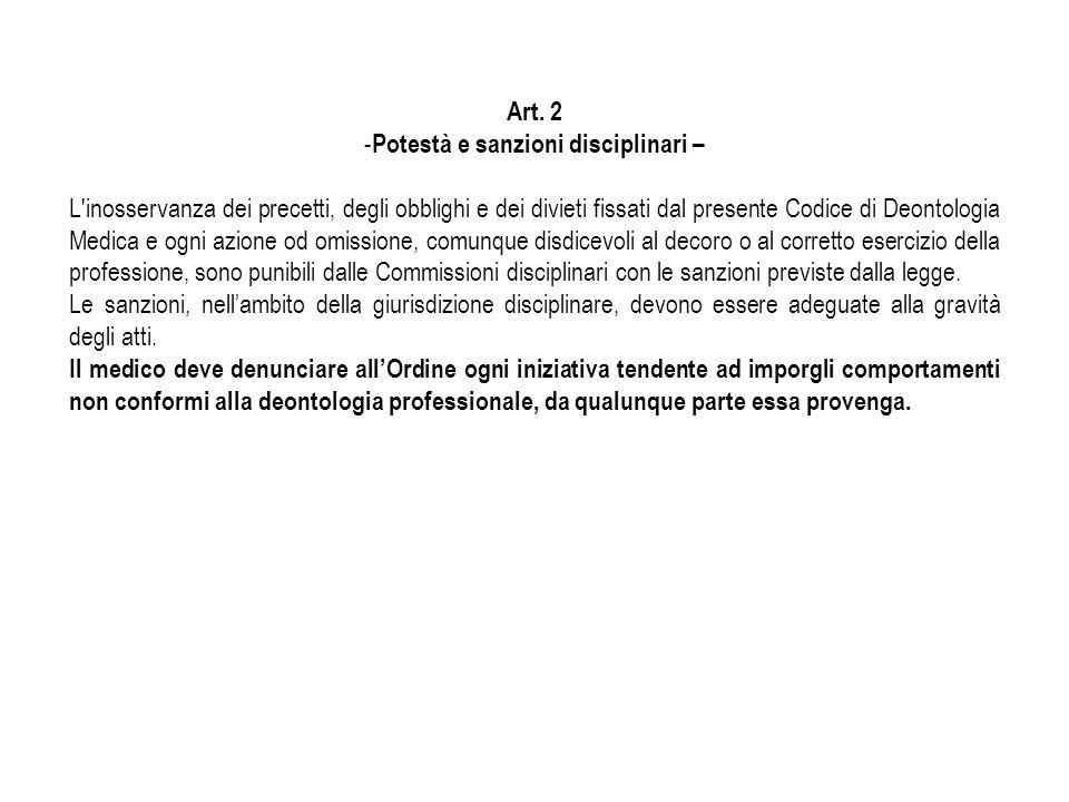 Art. 2 - Potestà e sanzioni disciplinari – L'inosservanza dei precetti, degli obblighi e dei divieti fissati dal presente Codice di Deontologia Medica