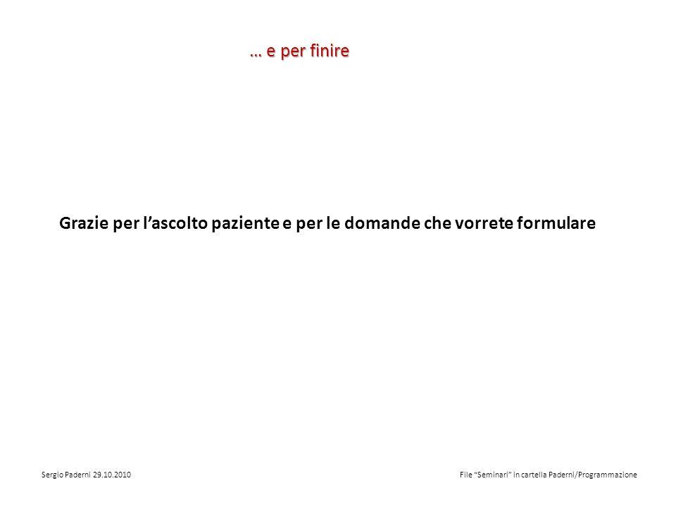 … e per finire Grazie per lascolto paziente e per le domande che vorrete formulare Sergio Paderni 29.10.2010 File Seminari in cartella Paderni/Programmazione