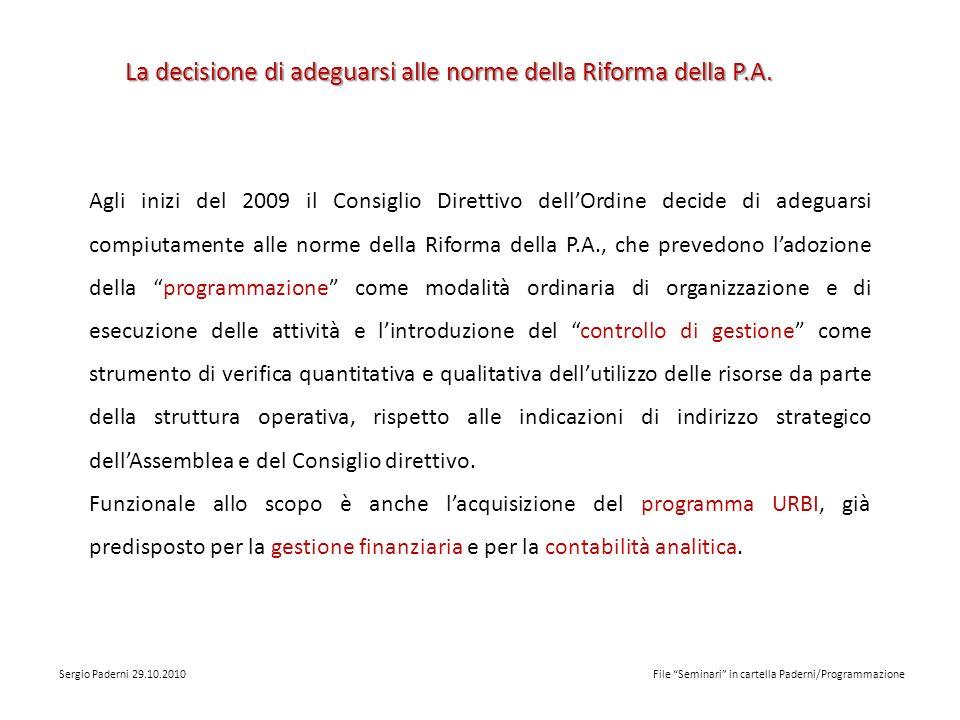 Ladeguamento alla normativa nazionale sui sistemi contabili delle P.A.