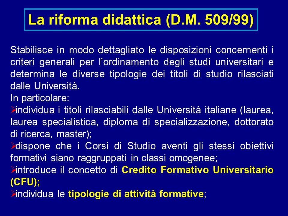 La riforma didattica (D.M. 509/99) Stabilisce in modo dettagliato le disposizioni concernenti i criteri generali per lordinamento degli studi universi
