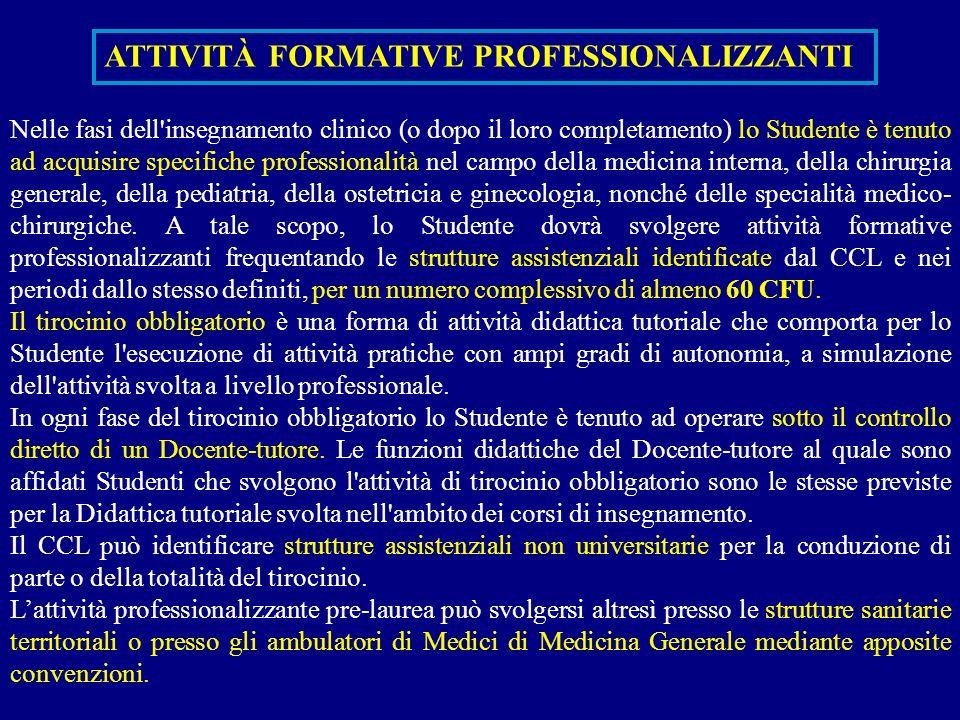 Nelle fasi dell'insegnamento clinico (o dopo il loro completamento) lo Studente è tenuto ad acquisire specifiche professionalità nel campo della medic