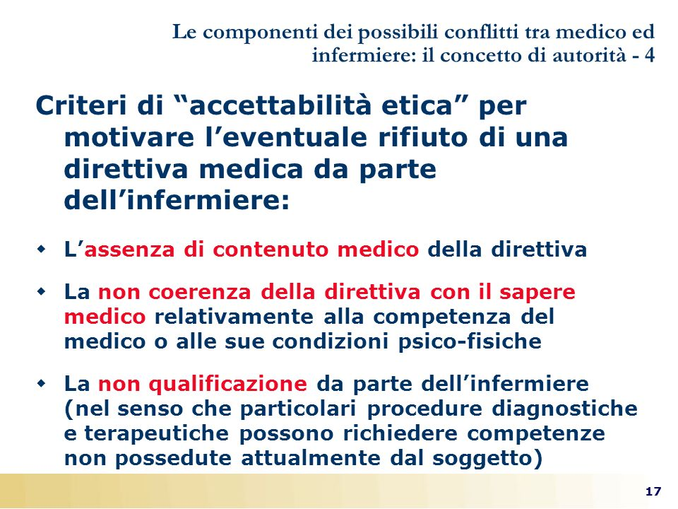 17 Le componenti dei possibili conflitti tra medico ed infermiere: il concetto di autorità - 4 Criteri di accettabilità etica per motivare leventuale