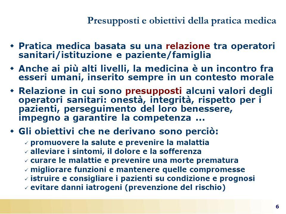 6 Presupposti e obiettivi della pratica medica Pratica medica basata su una relazione tra operatori sanitari/istituzione e paziente/famiglia Anche ai