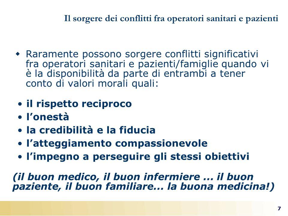 7 Il sorgere dei conflitti fra operatori sanitari e pazienti Raramente possono sorgere conflitti significativi fra operatori sanitari e pazienti/famig