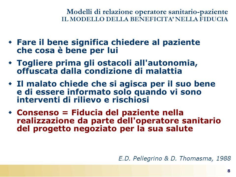8 E.D. Pellegrino & D. Thomasma, 1988 Modelli di relazione operatore sanitario-paziente IL MODELLO DELLA BENEFICITA NELLA FIDUCIA Fare il bene signifi
