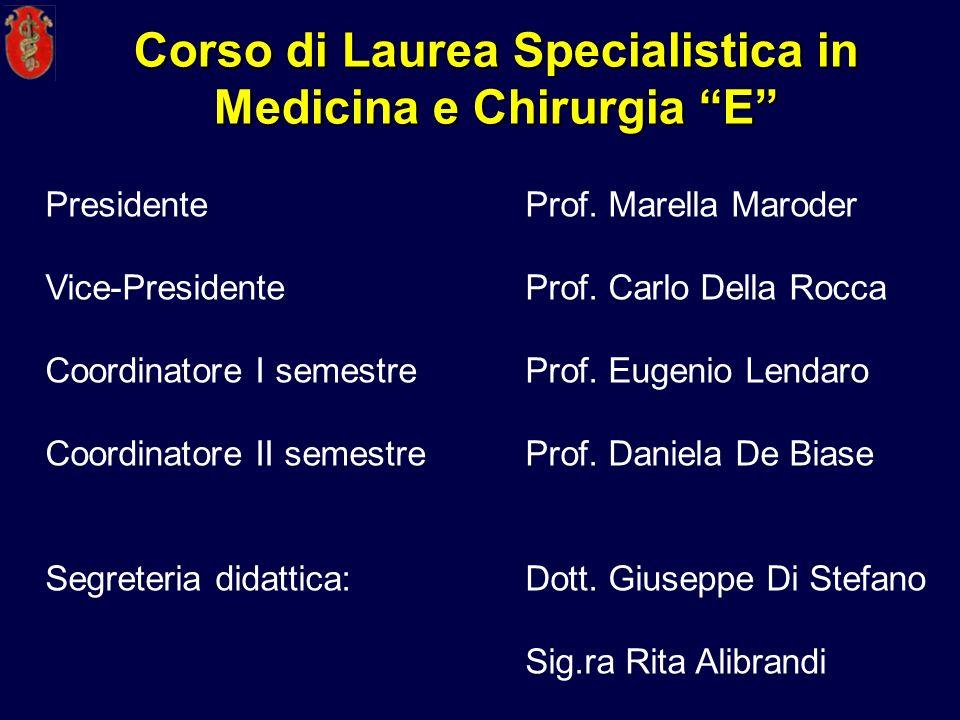 Corso di Laurea Specialistica in Medicina e Chirurgia E PresidenteProf. Marella Maroder Vice-Presidente Prof. Carlo Della Rocca Coordinatore I semestr