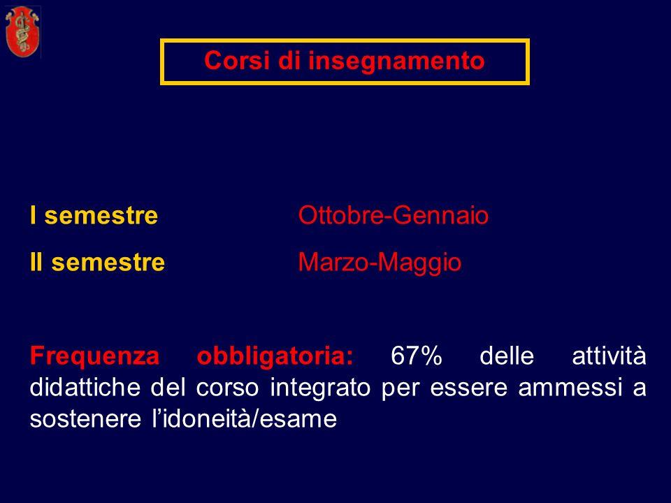 I semestreOttobre-Gennaio II semestre Marzo-Maggio Frequenza obbligatoria: 67% delle attività didattiche del corso integrato per essere ammessi a sost
