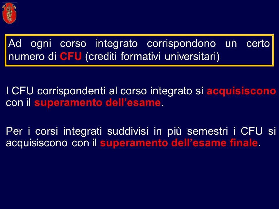 Ad ogni corso integrato corrispondono un certo numero di CFU (crediti formativi universitari) I CFU corrispondenti al corso integrato si acquisiscono