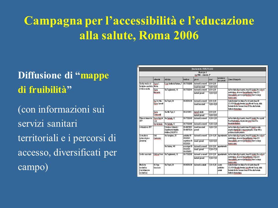 Diffusione di mappe di fruibilità (con informazioni sui servizi sanitari territoriali e i percorsi di accesso, diversificati per campo) Campagna per l