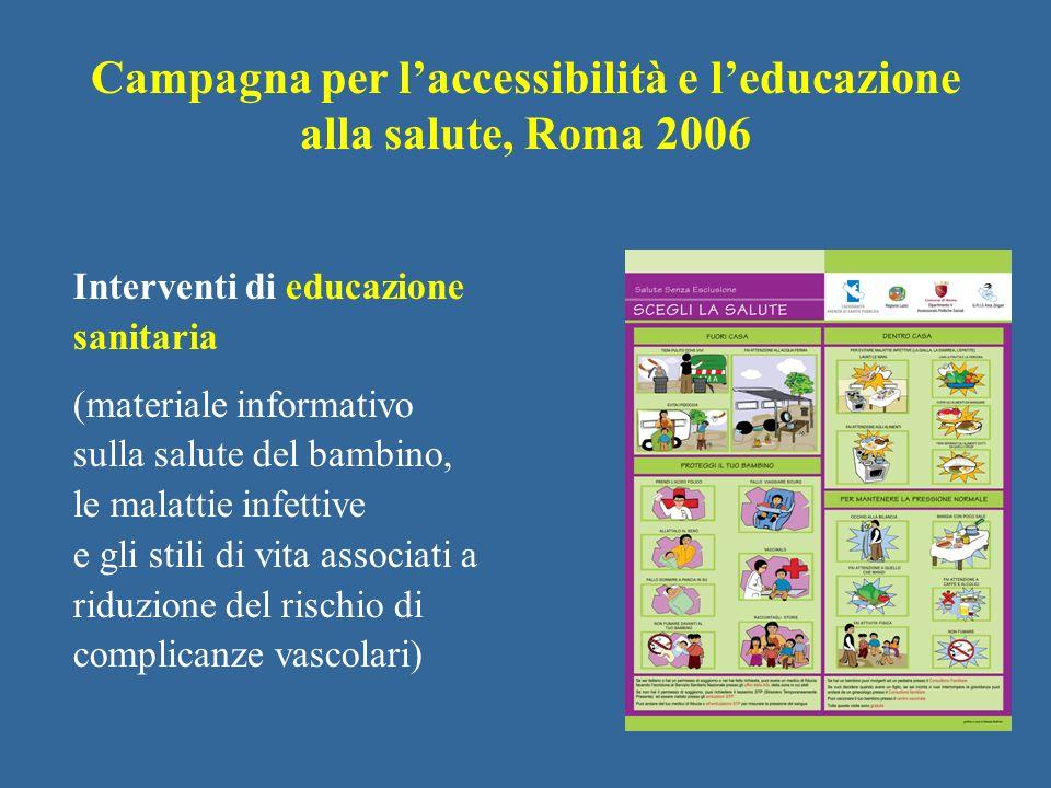 Interventi di educazione sanitaria (materiale informativo sulla salute del bambino, le malattie infettive e gli stili di vita associati a riduzione de