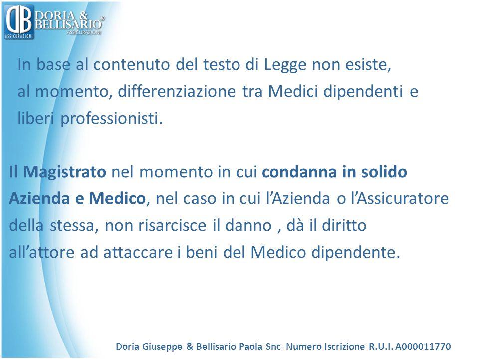 In base al contenuto del testo di Legge non esiste, al momento, differenziazione tra Medici dipendenti e liberi professionisti. Il Magistrato nel mome