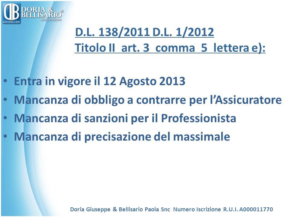 D.L. 138/2011 D.L. 1/2012 Titolo II art. 3 comma 5 lettera e): Entra in vigore il 12 Agosto 2013 Mancanza di obbligo a contrarre per lAssicuratore Man