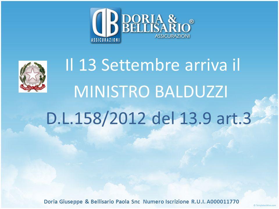 Il 13 Settembre arriva il MINISTRO BALDUZZI D.L.158/2012 del 13.9 art.3 Doria Giuseppe & Bellisario Paola Snc Numero Iscrizione R.U.I. A000011770
