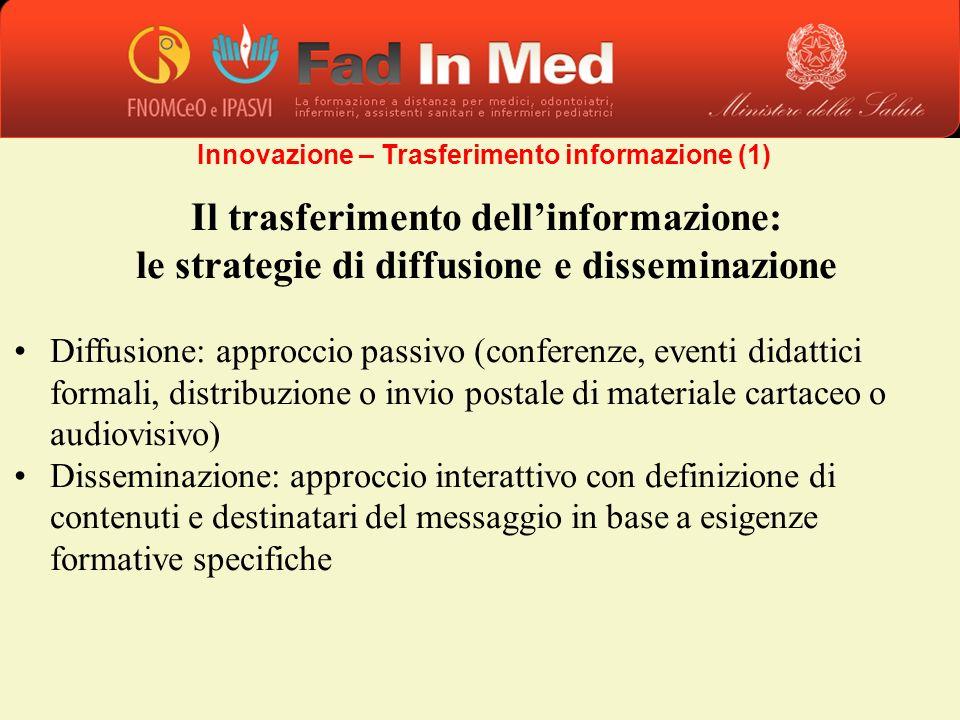 Il trasferimento dellinformazione: le strategie di diffusione e disseminazione Diffusione: approccio passivo (conferenze, eventi didattici formali, di