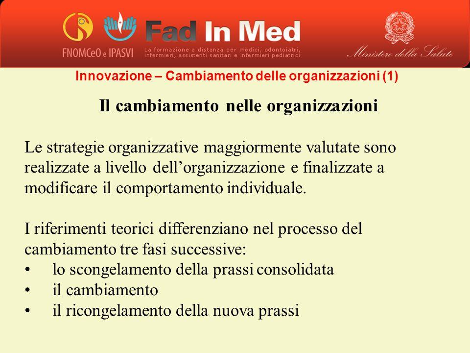 Il cambiamento nelle organizzazioni Le strategie organizzative maggiormente valutate sono realizzate a livello dellorganizzazione e finalizzate a modi