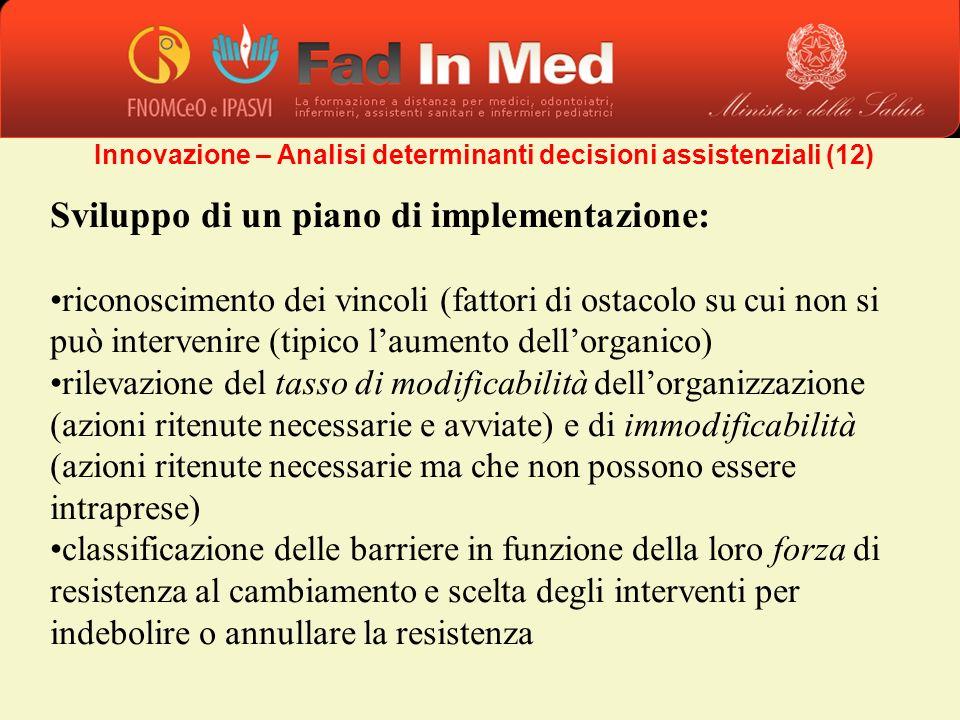 Sviluppo di un piano di implementazione: riconoscimento dei vincoli (fattori di ostacolo su cui non si può intervenire (tipico laumento dellorganico)