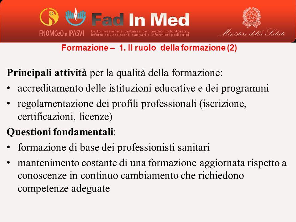 Principali attività per la qualità della formazione: accreditamento delle istituzioni educative e dei programmi regolamentazione dei profili professio