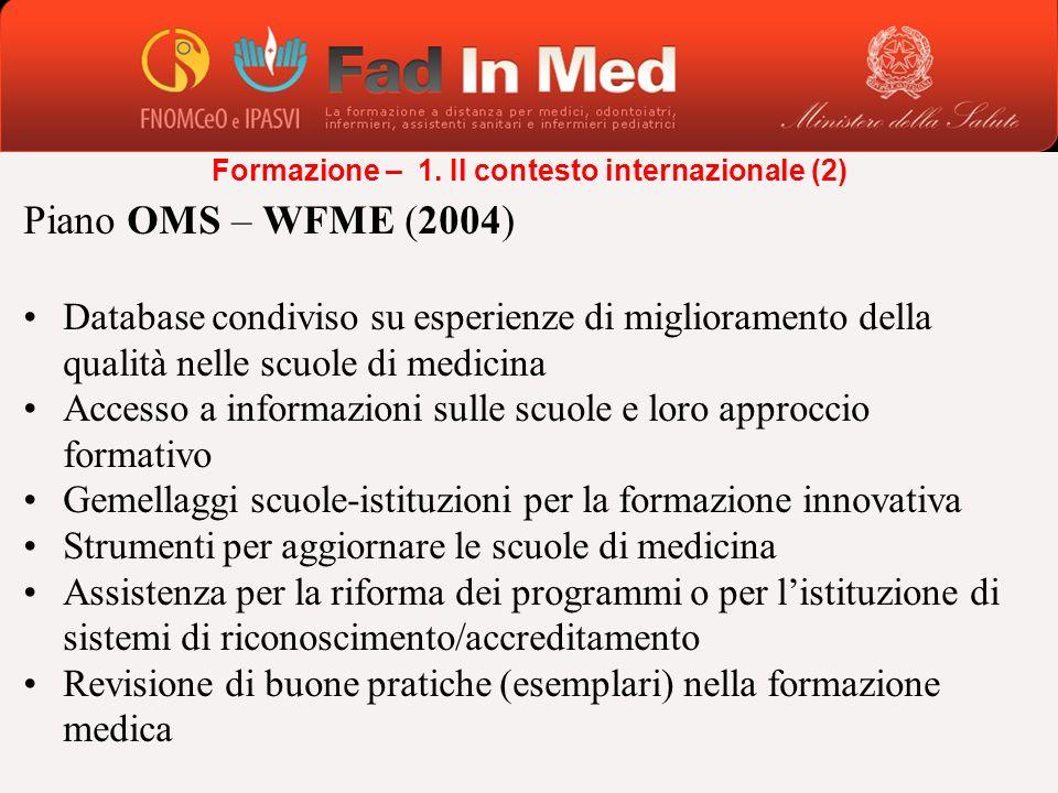 Piano OMS – WFME (2004) Database condiviso su esperienze di miglioramento della qualità nelle scuole di medicina Accesso a informazioni sulle scuole e