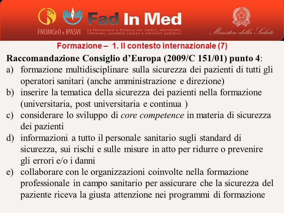 Raccomandazione Consiglio dEuropa (2009/C 151/01) punto 4: a)formazione multidisciplinare sulla sicurezza dei pazienti di tutti gli operatori sanitari