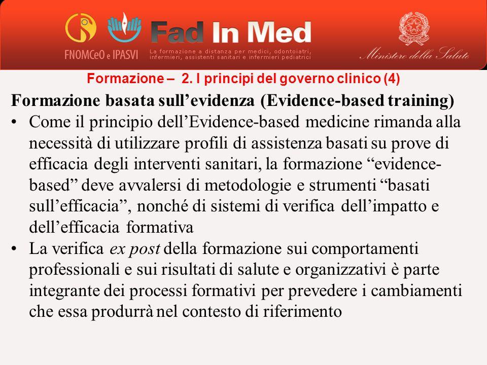 Formazione basata sullevidenza (Evidence-based training) Come il principio dellEvidence-based medicine rimanda alla necessità di utilizzare profili di