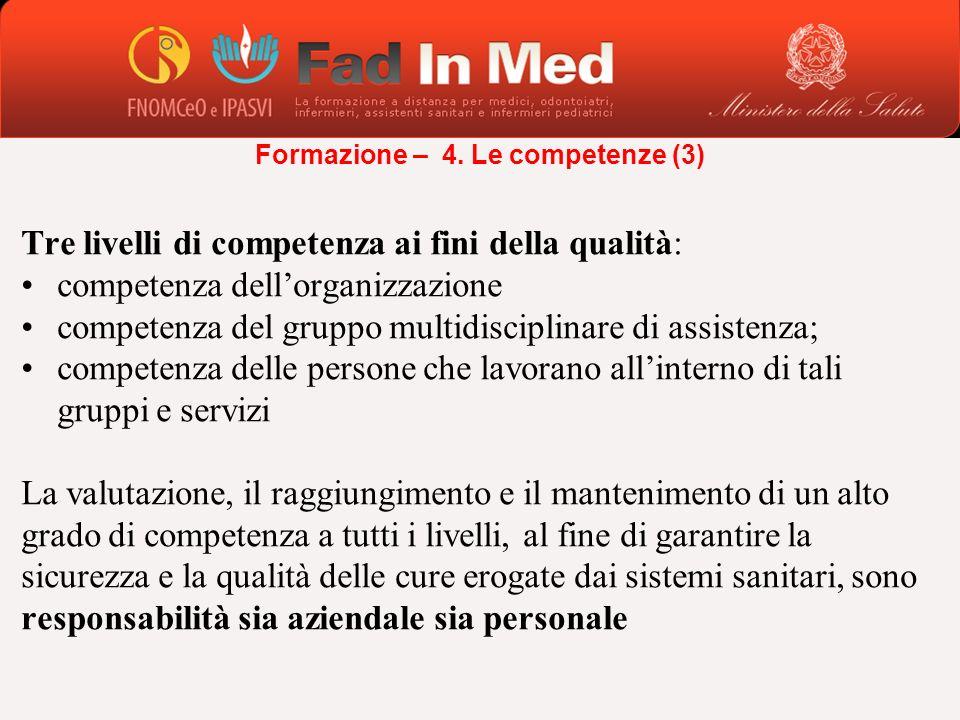 Tre livelli di competenza ai fini della qualità: competenza dellorganizzazione competenza del gruppo multidisciplinare di assistenza; competenza delle