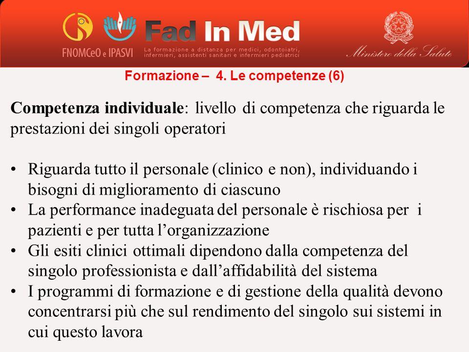Competenza individuale: livello di competenza che riguarda le prestazioni dei singoli operatori Riguarda tutto il personale (clinico e non), individua