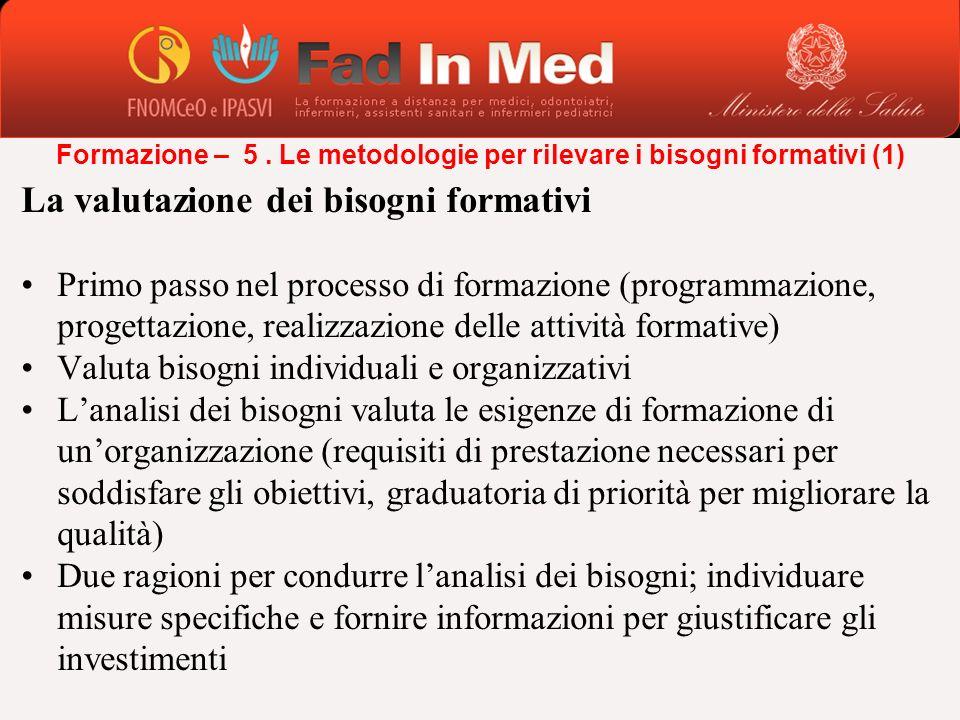 La valutazione dei bisogni formativi Primo passo nel processo di formazione (programmazione, progettazione, realizzazione delle attività formative) Va
