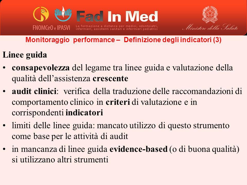 Linee guida consapevolezza del legame tra linee guida e valutazione della qualità dellassistenza crescente audit clinici: verifica della traduzione de