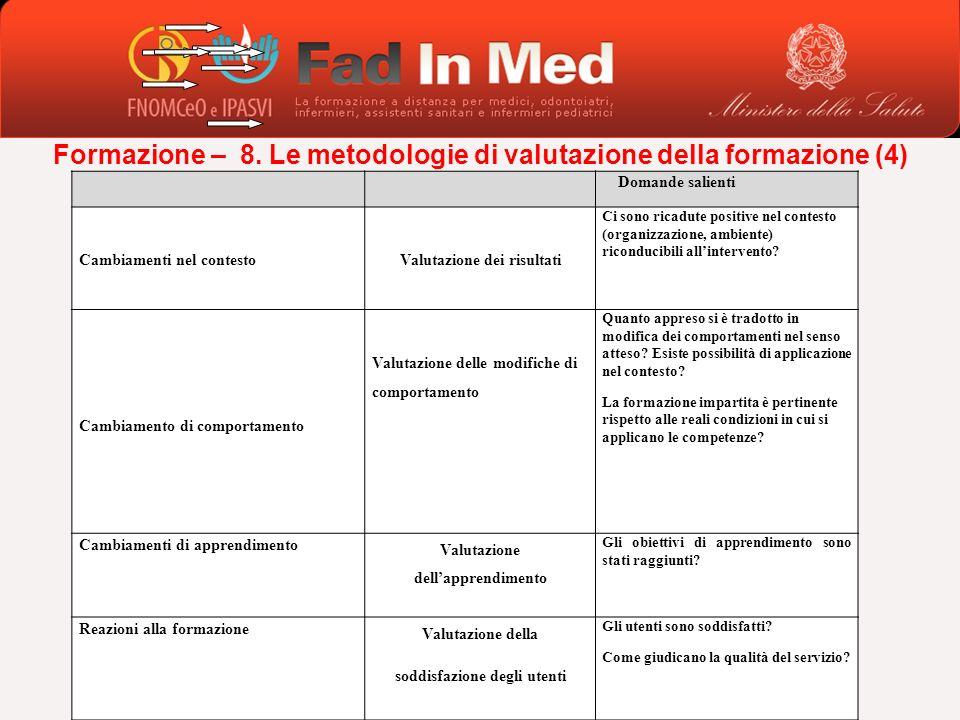 Formazione – 8. Le metodologie di valutazione della formazione (4) Domande salienti Cambiamenti nel contestoValutazione dei risultati Ci sono ricadute