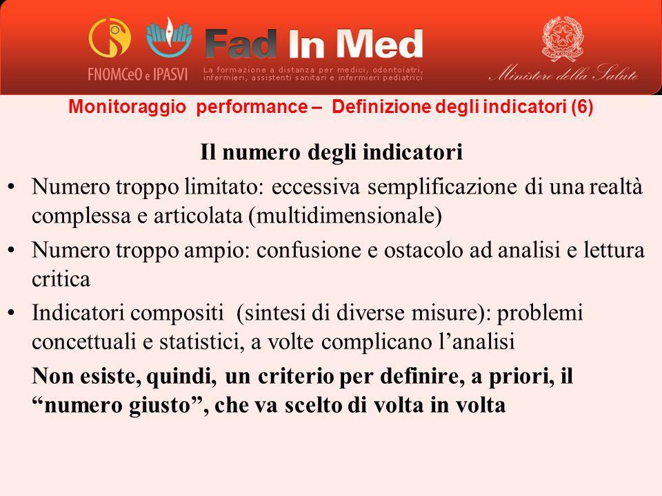 Il numero degli indicatori Numero troppo limitato: eccessiva semplificazione di una realtà complessa e articolata (multidimensionale) Numero troppo am