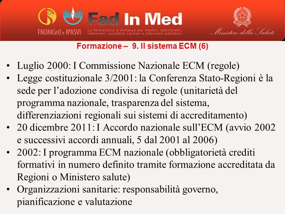 Luglio 2000: I Commissione Nazionale ECM (regole) Legge costituzionale 3/2001: la Conferenza Stato-Regioni è la sede per ladozione condivisa di regole