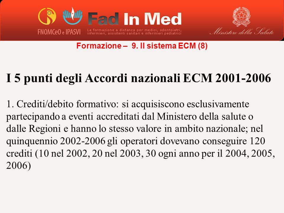 I 5 punti degli Accordi nazionali ECM 2001-2006 1. Crediti/debito formativo: si acquisiscono esclusivamente partecipando a eventi accreditati dal Mini