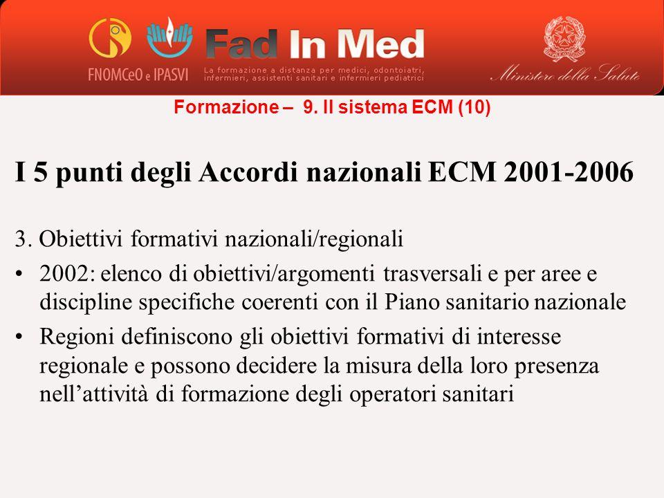 I 5 punti degli Accordi nazionali ECM 2001-2006 3. Obiettivi formativi nazionali/regionali 2002: elenco di obiettivi/argomenti trasversali e per aree
