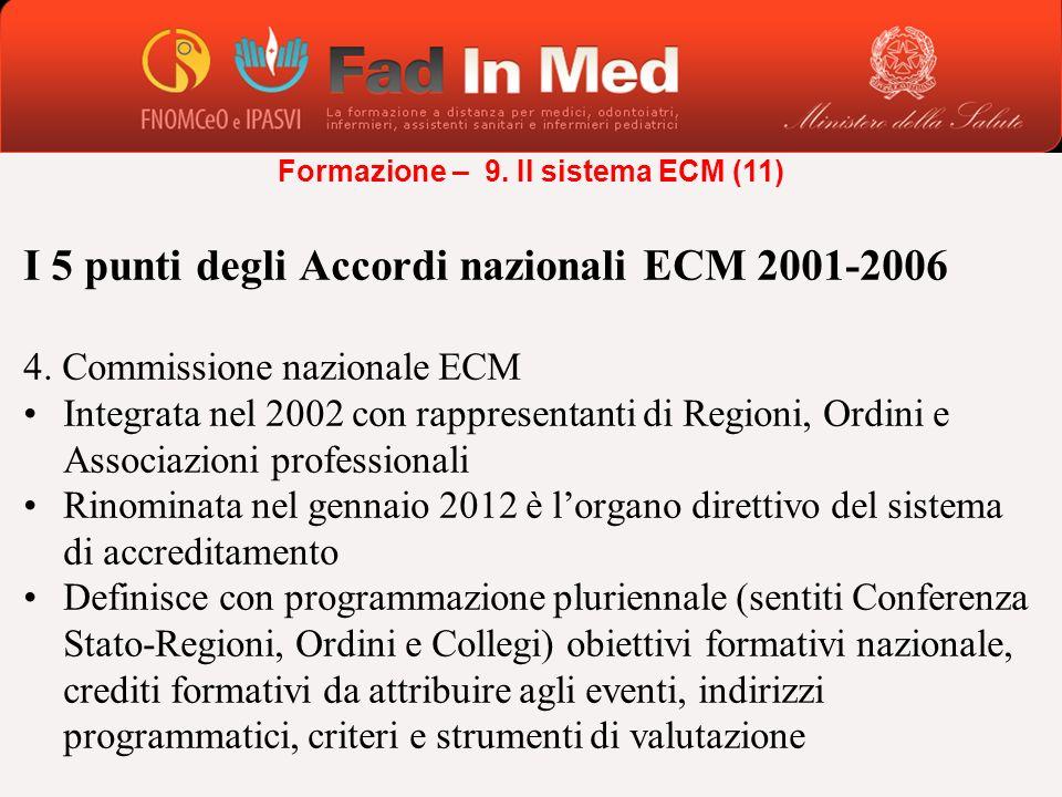 I 5 punti degli Accordi nazionali ECM 2001-2006 4. Commissione nazionale ECM Integrata nel 2002 con rappresentanti di Regioni, Ordini e Associazioni p