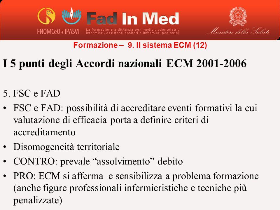 I 5 punti degli Accordi nazionali ECM 2001-2006 5. FSC e FAD FSC e FAD: possibilità di accreditare eventi formativi la cui valutazione di efficacia po
