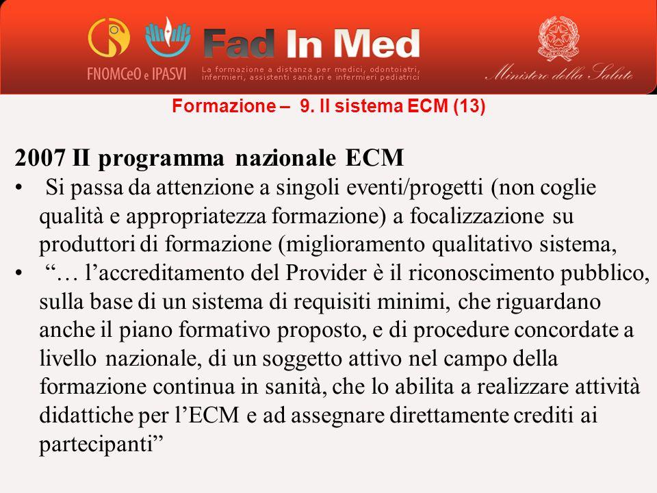 2007 II programma nazionale ECM Si passa da attenzione a singoli eventi/progetti (non coglie qualità e appropriatezza formazione) a focalizzazione su