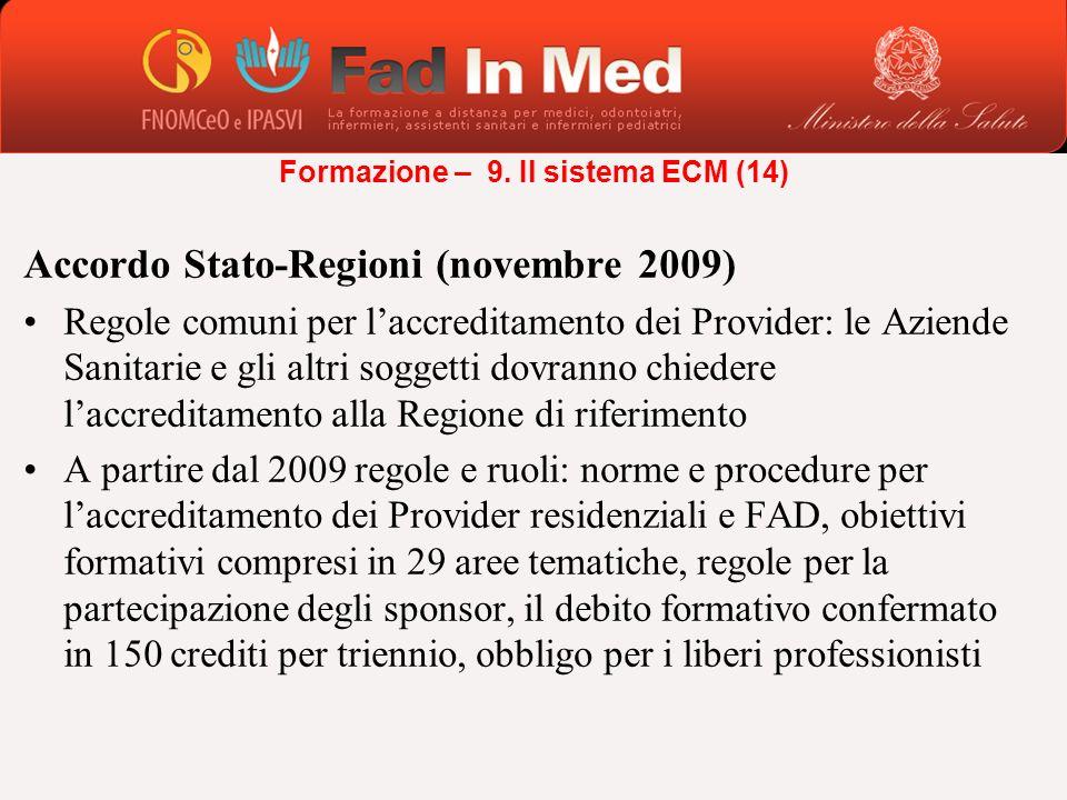 Accordo Stato-Regioni (novembre 2009) Regole comuni per laccreditamento dei Provider: le Aziende Sanitarie e gli altri soggetti dovranno chiedere lacc