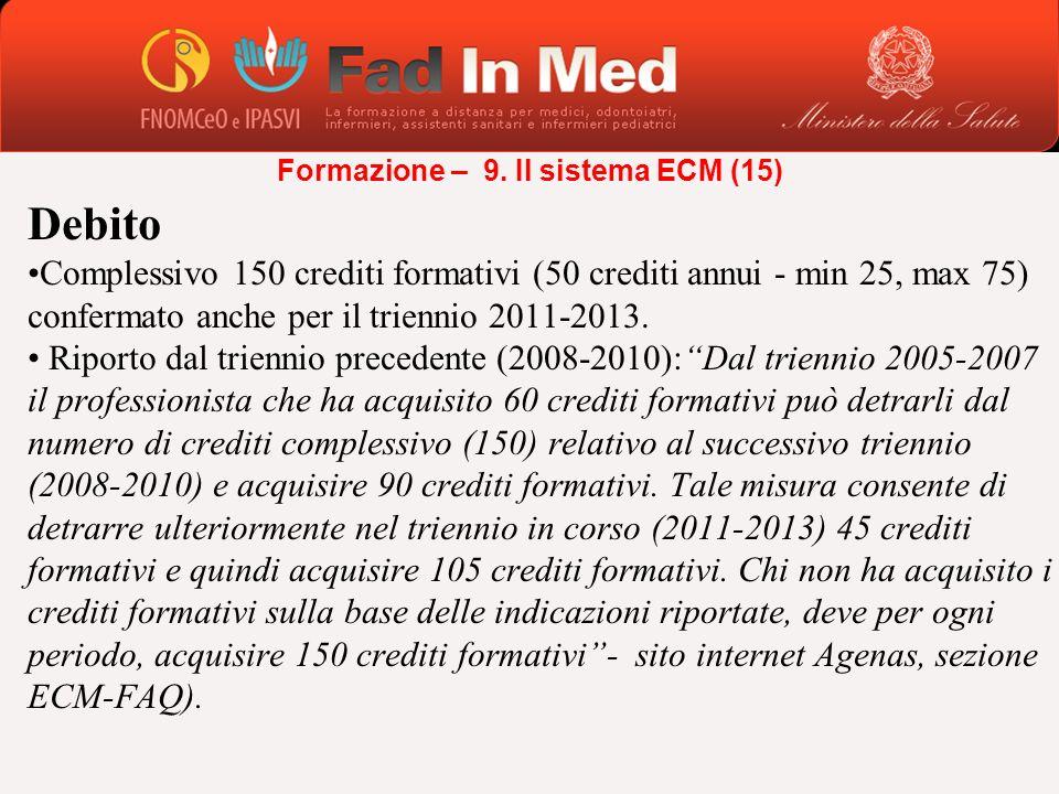 Debito Complessivo 150 crediti formativi (50 crediti annui - min 25, max 75) confermato anche per il triennio 2011-2013. Riporto dal triennio preceden