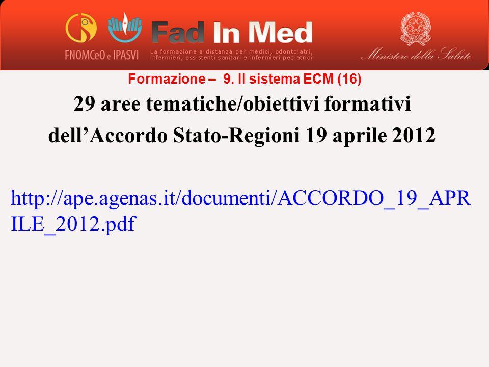 29 aree tematiche/obiettivi formativi dellAccordo Stato-Regioni 19 aprile 2012 http://ape.agenas.it/documenti/ACCORDO_19_APR ILE_2012.pdf Formazione –