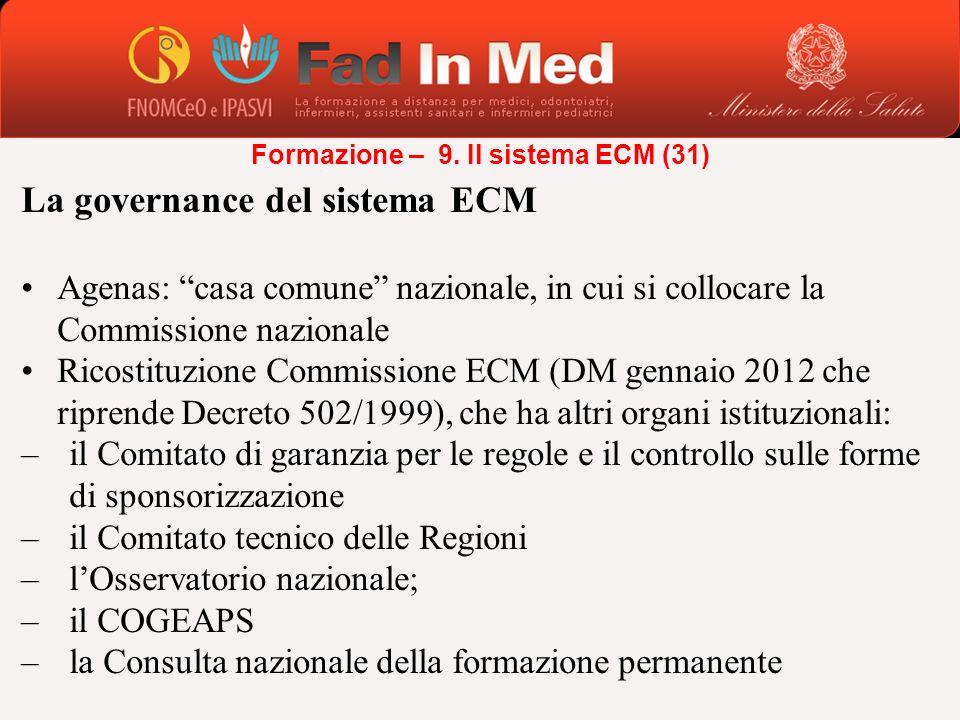La governance del sistema ECM Agenas: casa comune nazionale, in cui si collocare la Commissione nazionale Ricostituzione Commissione ECM (DM gennaio 2