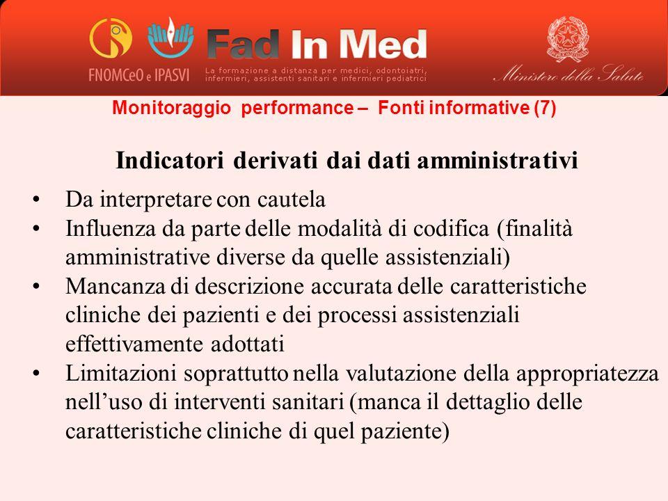 Indicatori derivati dai dati amministrativi Da interpretare con cautela Influenza da parte delle modalità di codifica (finalità amministrative diverse