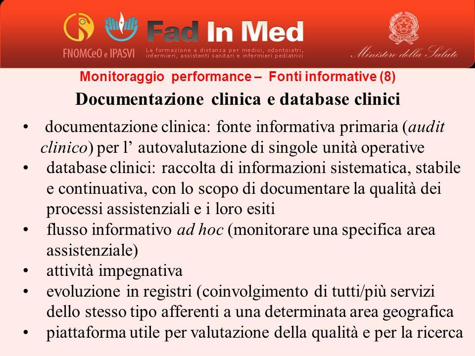 Documentazione clinica e database clinici documentazione clinica: fonte informativa primaria (audit clinico) per l autovalutazione di singole unità op