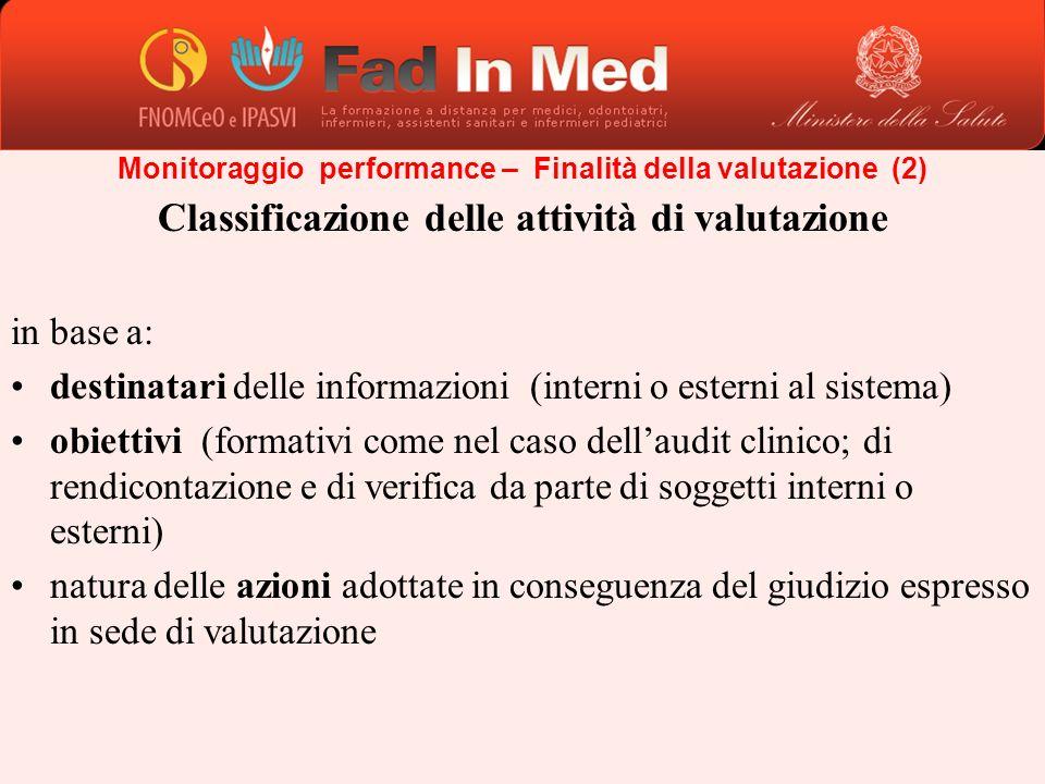 Classificazione delle attività di valutazione in base a: destinatari delle informazioni (interni o esterni al sistema) obiettivi (formativi come nel c