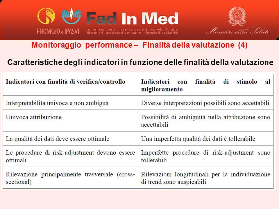 Monitoraggio performance – Finalità della valutazione (4) Caratteristiche degli indicatori in funzione delle finalità della valutazione