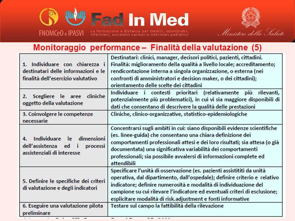 Monitoraggio performance – Finalità della valutazione (5)